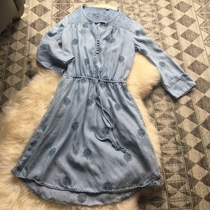 Anthropologies soft denim dress with so details